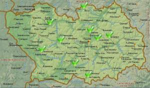 Карта области с населенными пунктами, где мы проводили монтаж оборудования.